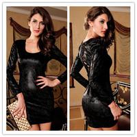Above Knee, Mini long sleeve Solid novelty dress long sleeve novelty dress Black Textured Lace-Up Back Dress roupas femininas