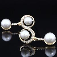 2014 New Women Double Pearl Earrings Stud Earrings Wedding Jewelry High Quality Elegant Christmas Accessories