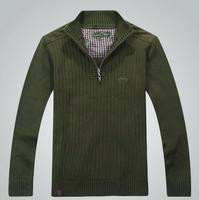 Men Sweater New 2015 Autumn Winter Fashion Men's Wear Premium Brand Pure cotton sweaters Long sleeve Half zipper collar Knitwear