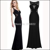 Black Lace Maxi Dress Sexy Women Vestido Longo Hollow Out Bandage Dress Long Flower Embroidery Party Dresses Women Clothes 2014