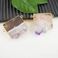 6pcs Natural Amethyst Quartz Crystal Drusy Stone Gems Side Ways Pendant Bead Jewelry