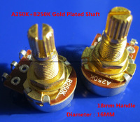 Free Shipping 1Pair A250K and B250K 18mm Handle 16MM Gold Plated Shaft Guitar Potentiometer Guitar Tone Pots