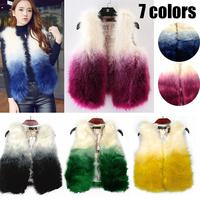 2014 Autumn and Winter warm New Silver Gradient color Fox Fur Vest gilet outerwear womens fashion fur coat plus size