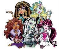 MONSTER HIGH DOLL FRIENDS Iron On Heat Transfers Film TV MOVIE Cartoon Kids Girl BOY Patch Logo Badge Free Shipping