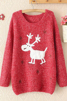 2014 High Street Women Sweater Autumn Winter Sweater Pullover Snowflakes Elk Loose Turtleneck Sweater LC27572