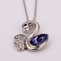 Free shipping!!! Jewelry Necklace,Elegant, Zinc Alloy, with 2 lnch extender chain, Swan, platinum plated