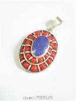 TBP792 Tibetan Copper inlaid Turquoise Lapis Oval Amulet Nepal Vintage Handmade Jewelry Pendants