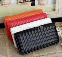 Wallets zipper wallets fashion standard walletsXiao Xuan couple new hand-woven plaid pattern purse handbag clutch bag candy smal