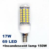 E14 69LEDS 5050SMD (=Incandescent lamp 60W) LED Corn Bulb 220V - 240V Warm white cold white LED Lights