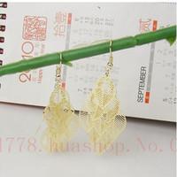 Plating  Golden Tree leaf brincos earrings women double pendientes ears boucle doreille