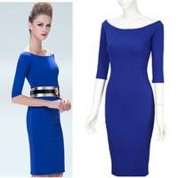 Free Shipping Europe and America Original Designer Half Sleeve Sexy Slash Collar Slim Noble Dress , Club Dresses