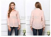 Large Size Women Chiffon Shirt Collar Flap Pockets Blouse 2015 Explosion Models Women Shirt Blouse Summer