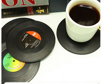 6Pieces/Set Spinning Retro Vinyl Record Drinks Coasters / Vinyl Coaster Cup Mat