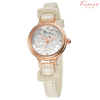 Hollow Out Flower KIMIO 18K Gold Plated Quartz Watches Stainless Steel Case Women Waterproof PU Leather Strap Wristwatch KW541S