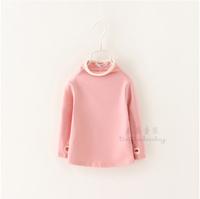 Baby Girls Winter T-shirts Fashion Solid  Children Full Sleeve Tees High Quality Undershirts Cotton  Kids Clothing 6pcs/LOT