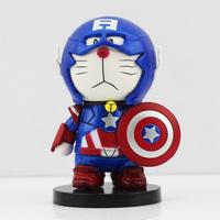 Free Shipping Anime Cartoon Doraemon Cosplay Captain America PVC Action Figure Toy In New Box 8CM