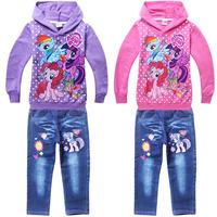 Hot sale Cartoon little pony Baby girls clothing set,cotton children hoodies+jeans 2pcs kids clothes,cute conjunto menino
