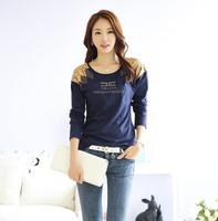 S-XXXL 2014 Fashion Hitz Women's Long Sleeve Slim Cotton T-shirt Large Size Casual Tshirts For Ladies Bottoming Shirt T853