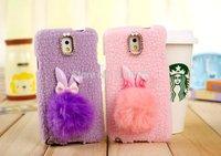 New Cute Real Rabbit Fur Ball Plush Phone Case For Samsung Galaxy Note 3 N9000 Rhinestone Plush Rabbit TPU Case Cover For Note 3