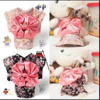 promotion sale Pet Clothing Dog Pet New Clothes Floral Japanese Kimono Bow Tie Shirt Costume Princess Dress Free&Drop Shipping