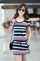 M-XL,2014 Summer Women Sweet Dress Slim Fitness Short-sleeved Striped School Girl's Casual Dress Vestidos Women's Clothing Y006