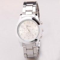 New fashion men's stainless steel watch casual male clock cool men sports quartz watches wrist brand Geneva watch free shipping