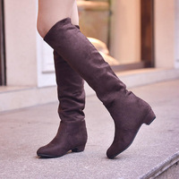 Fashion gaotong boots round toe boots autumn and winter velvet flat boots single boots