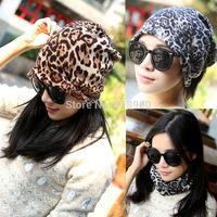 Spring Autumn leopard print 3 wearing ways gorros carhart, Skull Chunky Baggy Warm touca beanie women cap,
