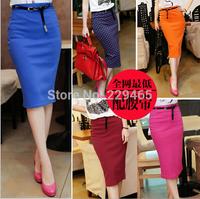 Long elastic bag hip skirt high quality 2014 new spring candy color South Korea type slim women skirt knee length send belt