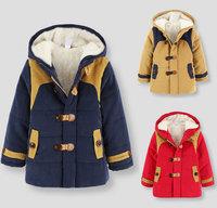 Children's winter thick velvet coat, boys hooded velvet padded , cashmere and cashmere coat in children Kids