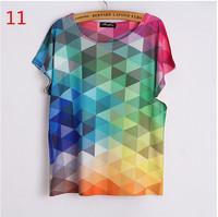 New 2015 summer women t shirts 3 d Geometric Gradient printed t-shirt bat sleeve tee shirt O-Neck  t shirt colorful tops