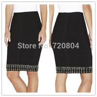 Free shipping 2014 New arrival Women's black crystal  Bandage skirts  fashion skirts Dress HL Evening Dresses HL