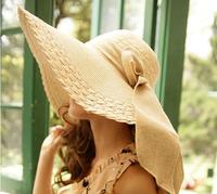 1 piece 2014 new  hot bowknot style Women Foldable Wide Large Brim Floppy Summer Beach Sun Straw Hat Cap 8 colour