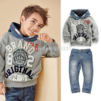 Child clothing Kids fashion Clothing Set  Boys long-sleeve pullover denim set Boys Clothing Sets Kids Apparels Free shipping