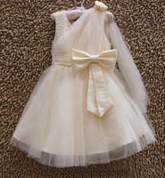 Summer Girls Wedding Dress Sleeveless Children's Wear Party Dress With Bow Formal Kids Clothes Princess Evening Dresses DS14151