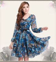 HOT 2015 New Summer Fashion Women's Knee-Length Chiffon Dress Plus Size Long Sleeve Bohemian Floral Vestido One-Piece Dresses