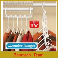 Space Saver Wonder Magic Clothes Hangers Closet Organizer Hooks Racks Useful 1Pack=8Hanger Color Box