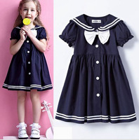 2014 new girls dresses Style of college students group of bowknot is pure color christmas dress free shipping