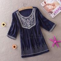 Spring summer 2014 Korean embroidery loose shirt cotton folk style pattern shirt size