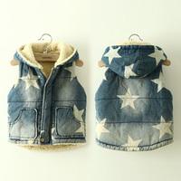 2014 winter pentastar boys clothing girls clothing child thickening denim cotton vest wt-2168