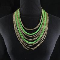 Fashion Statement Collar Mix Colored Multirow Curb Metal Chain Short Design Choker Necklace Women Jewelry Item,C89