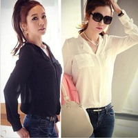 Hot Sale !!  Women Loose Casual Long-Sleeve Spring And Summer Sexy V-Neck Chiffon Shirt Top Shirts Black And White  Blouse