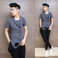 T-shirt Slim Korean men casual Top fashion personality men punk top