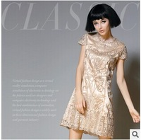 The new summer European and American high-end hand embroidery slim silk dress