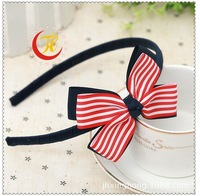 The new children's hair band Red and white stripes head band Navy wind bows Hair band