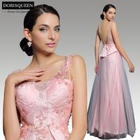 New arrival Dorisqueen fast ship fashion sleeveless 31211 sequins floor length beaded pink long evening dresses 2015