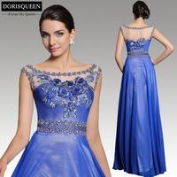New arrival Dorisqueen fast ship fashion sleeveless 31215 applique floor length beaded blue long evening dresses 2015