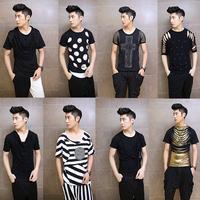 punk tees 2015 summer new men's Short sleeve T-shirt costumes nightclub hairstylist Korean Slim T-shirt
