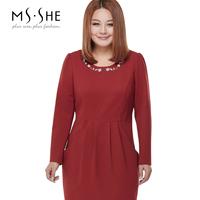 Msshe plus size clothing 2014 autumn and winter elegant o-neck long-sleeve dress slim 8019