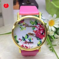 50pcs/lot New Fashion Leather geneva Rose Flower Watch For Women Dress Quartz Watches DHL free